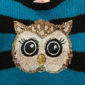 🌟JUSTICE🌟Sweater w/ sparkly OWL blue/black sz 7